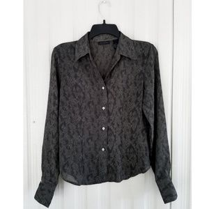 The Limited Green Black Snakeskin Shirt Top Blouse